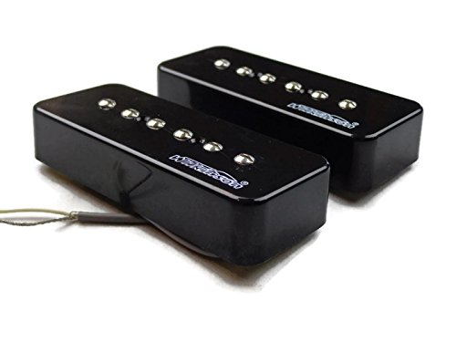 (Wilkinson Black P90 Set Neck Bridge Guitar Pickups Set Soapbar Us Seller)