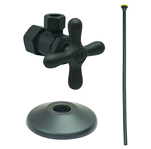 BrassCraft XCR1920DLX BZ Toilet Kit: 1/2'' Nom Comp x 3/8'' O.D Comp Multi-Turn Angle Valve with 20'' Riser, Flange in Oil Rubbed Bronze by BrassCraft