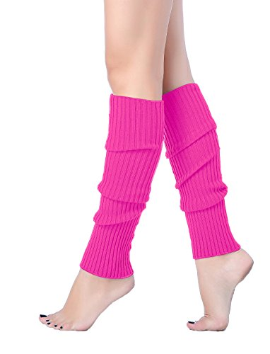 - V28 Women Juniors 80s Eighty's Ribbed Leg Warmers for Party Sports (Rose)