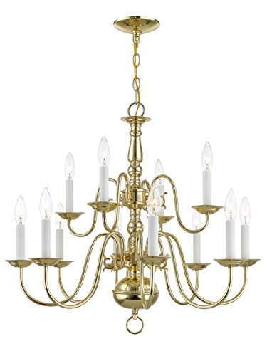 Livex Lighting 5012-02 Williamsburg 12 Light Two Tier (8+4) Polished Brass Chandelier (Twelve Chandelier Light Steel)