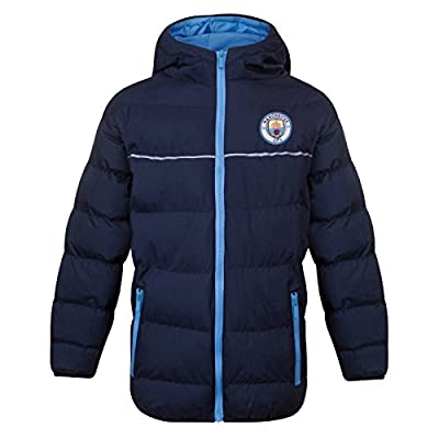 Manchester City FC Official Soccer Gift Boys Quilted Hooded Winter Jacket