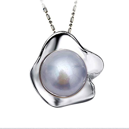 Flower Pearl Pendant Natural Freshwater Pearl Pendant Necklace Jewelry,Gray