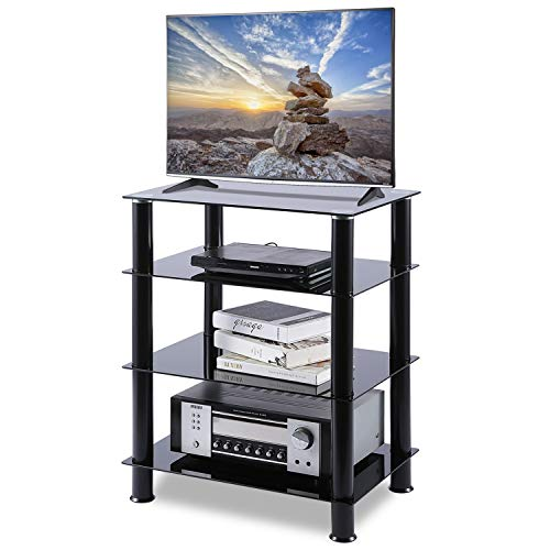 Console 4 Rack - 5Rcom 4 Tier Audio Rack Black Glass Component Media Stand Audio Video Tower Shelves, Storage for Xbox,Routers,Cable Boxes, Games Consoles, Hi-fis