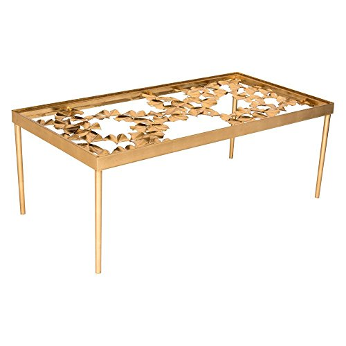 Safavieh Home Collection Otto Antique Gold Ginkgo Leaf Coffee Table
