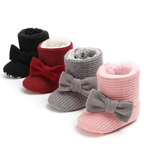 LIVEBOX Newborn Baby Cotton Knit Booties,Premium Soft Sole Bow Anti-Slip Warm Winter Infant Prewalker Toddler Snow Boots Crib Shoes for Girls Boys by LIVEBOX (Image #6)
