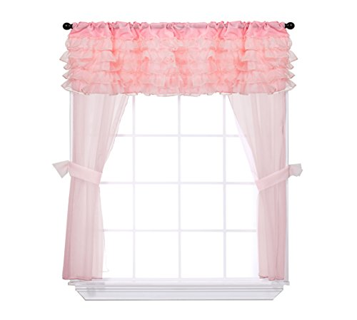 Baby Doll Bedding Layered 5 Piece Window Valance and Curtain Set, Pink by BabyDoll Bedding