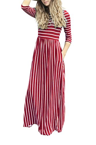 YACUN Damen 3 / 4 Ärmel Gestreiften Langen Maxi Beach Party Kleid ...