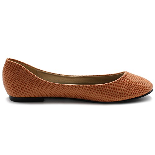 Ollio Scarpa Da Donna Balletto Basic Leggero Comfort Strutturato Pelle Di Serpente Appartamenti Arancione