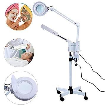 Ozone Facial Steamer 5X Magnifier Floor Lamp Cold Light LED UV Ozone Facial Steamer for Skin Care Clean Spa Salon White 2