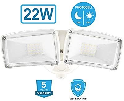 Amico 22W Dusk to Dawn LED Outdoor Lighting,LED Security Light 6000K IP65 Waterproof Dual Head Flood Light