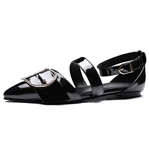 COOLCEPT Mujer Moda Al Tobillo Sandalias Cerrado Planos Zapatos Negro