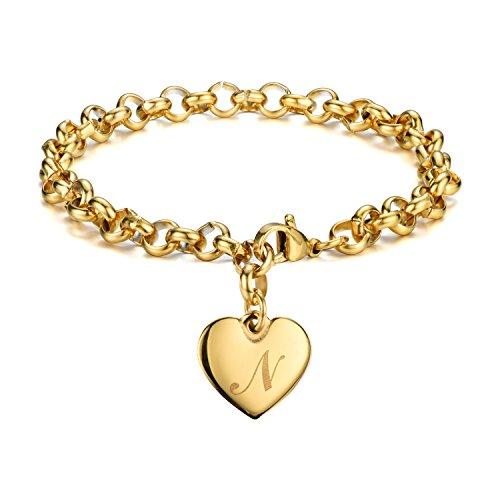 Monily Initial Charm Bracelets Stainless Steel Heart 26 Letters Alphabet Bracelet for ()