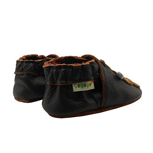 Sayoyo Suaves Zapatos De Cuero Del Bebé Zapatillas vaca linda negro