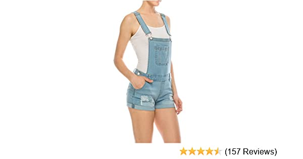 53e7b6522f35 Wax Women s Juniors Cute Denim Overall Shorts at Amazon Women s Clothing  store