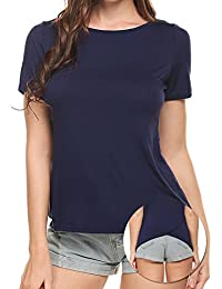 Women's Comfy Basic Cotton Short Sleeves Hole Casual T-Shirt Tee
