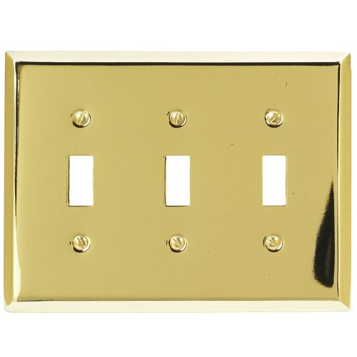Amerelle 163TTTBR Traditional Triple Toggle Wallplate, Bright ()
