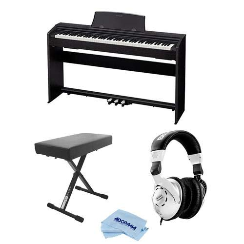 Casio PX-770 Privia 88-Key Digital Console Piano with 2x 8W Amplifiers, Black - Bundle With Behringer HPS3000 High-Performance Studio Headphones, On-Stage Deluxe X-Style Keyboard Bench, Fiber Cloth by Casio