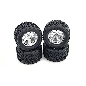 "TRAXXAS 1/10 STAMPEDE 2WD SET OF (4) TIRES AND WHEELS.TRAXXAS 2.8"" MOUNTED ALLSTAR WHEELS AND TIRES, THE BEST TIRES EVER MADE FOR THE TRAXXAS STAMPEDE TRUCK."