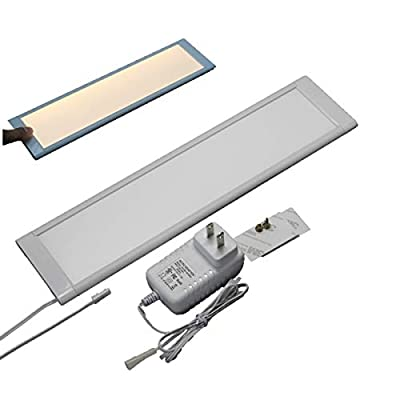 "8mm Slim Dimming Linkable 12"" LED Cabinet, Under Cabinet, Closet Panel Light with Touch Dimming Sensor and Adapter Single Kit"
