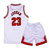 Onlyso Little Boys 2-Piece Basketball Performance Tank Top and Shorts Set (XL(7), White)