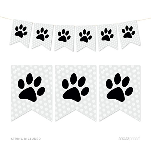 Andaz Press Hanging Pennant Party Banner with String, Animal Pawprint, 9-Feet, 1-Set, Decor Paper Decorations, Includes String by Andaz Press