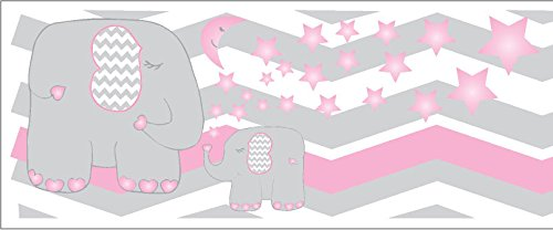 Mural Elephant Wood (Pink Elephant Border Wall Decals / Chevron Border with Pink Moon and Stars Nursery Decor (Pink Elephant Border))
