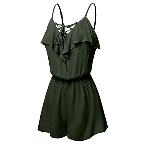 Jumpsuits for Women Elegant Plus Size Women's Spaghetti Straps Deep V Neck Sleeveless Party Rompers Dress by Dainzuy Green ()