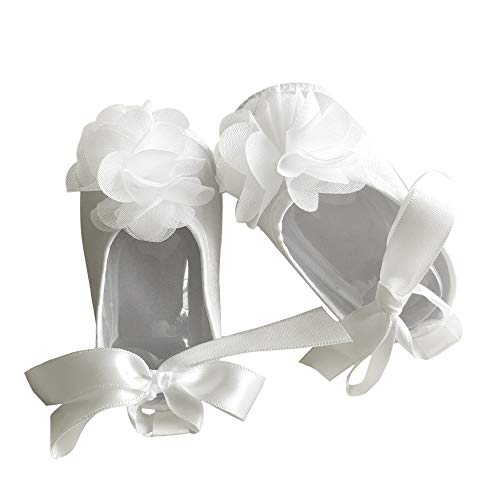 Baby Girls' Shoe for Christening, Dress Cream Baptism Flowers Laces Shoes