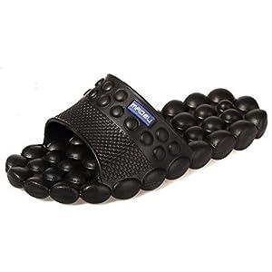 Spa Massage Foam Non-slip Bathroom Shower Household Beach Slippers Sandal (8 B(M) US, Black)