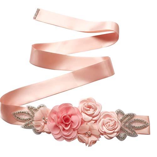 Spmor Women's Bridal Wedding Dress Rhinestone Sash Maternity Sash Belt Flower Baby Girl Sash Belt,Light Pink