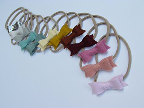 HANDMADE WINTER RAINBOW Mini Bow set of 12 Baby Nylon Headbands