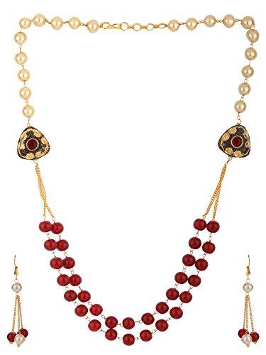 Efulgenz Muti Layered Indian Bollywood Kundan Red Faux Ruby Pearl Beaded Bridal Necklace Earrings Wedding Jewelry Set