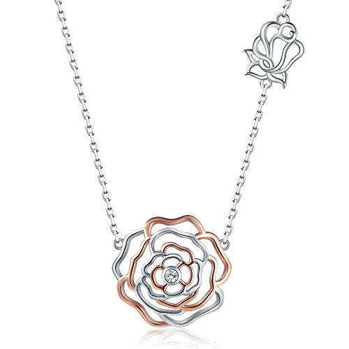 Apotie Rose Gold Jewelry Gifts Mother Daughter Pendant Rose Flower Necklace for Women Girls (Rose Necklace)