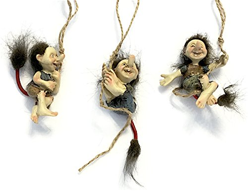 Miniature Swinging Hairy Trolls, Set of Three Trolls for Indoor DIY Fairy Garden Decor