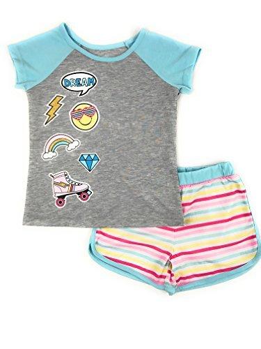Wonder Nation Girls Graphic Short Sleeve Top and Shorts 2-Piece Pajamas, Unicorn, Cat, Dog, Mermaid Styles (Medium (7/8), Emojis) by Wonder Nation