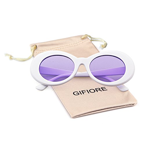 Bold Retro Oval Mod Thick Frame Sunglasses Clout Goggles with Round Lens (White/Purple lense, 51)
