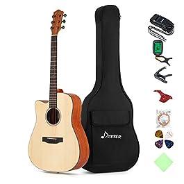 Donner Left Handed Acoustic Guitar Cutaway DAG-1CL 41 inch Full-size Beginner Guitar Package with Big Bag Tuner String…