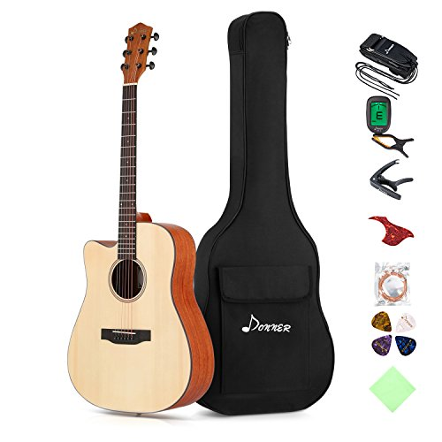 12 Fret Dreadnought - Donner Left Handed Acoustic Guitar Cutaway DAG-1CL 41 inch Full-size Beginner Guitar Package with Big Bag Tuner String Strap Capo