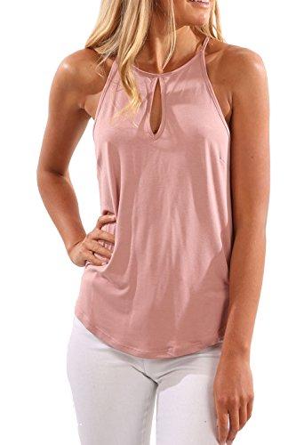 Casual sin mangas salida hueco de la mujer Slip camisetas Tops Pink