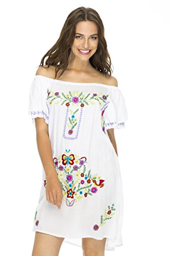 Back From Bali Womens Short Dress Off Shoulder Embroidery Tunic Mexican Style