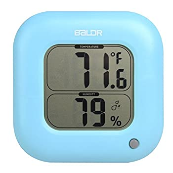 BALDR Square Thermometer and Hygrometer with Temperature Humidity Display Temperature Sensor (Blue)