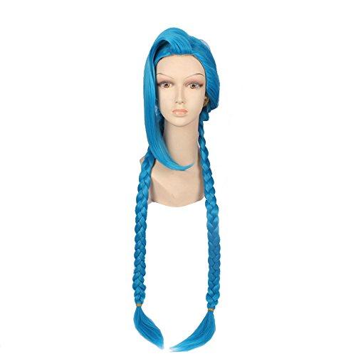 Jinx Cosplay Wig -League of Legends Cosplay Blue Women Hallowen Party Sythetic Wig (Jinx Costumes)