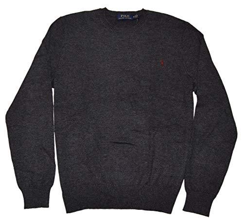 Ralph Lauren Polo Men Italian Cashmere Crewneck Pullover Sweater Grey Red Medium ()