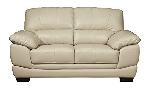 Signature Leather Sofa Set - Ashley Furniture Signature Design - Fontenot Contemporary Leather Loveseat - Cream