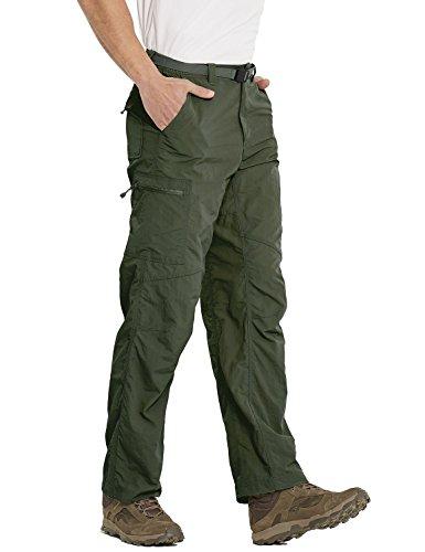 Baleaf Men's Quick Dry UPF 50+ Cargo Camo Pants Army Green 34W by Baleaf (Image #3)