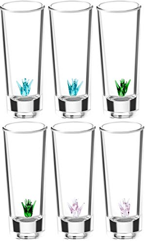 IOC - Authentic Mexican Artisanal Tequila Shot Glasses with Glass Blown Agave Plant Inside - 6 Shot Glass Pack 2 Oz 50 ML - Traditional Luxury Kitchen Supplies and Fun Shot Glasses Housewarming Gift