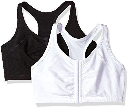 Fruit of the Loom Women's Front Close Racerback (Pack of 2) Bra, Black/White, 42