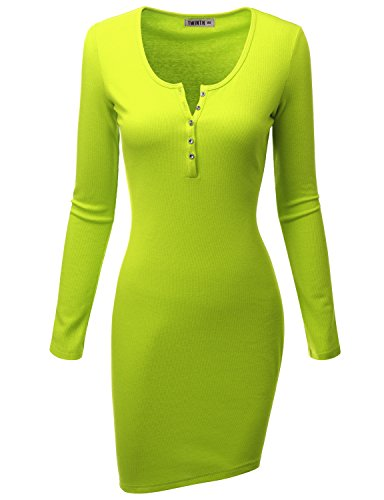 Doublju Womens Long Sleeve Cotton Ribbed Knit Bodycon Henley Dress