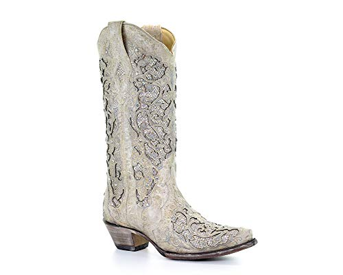 Corral Women's 14-inch Off White Glitter Inlay & Crystals Snip Toe Pull-On Cowboy Boots, Bone, 8 B(M) US ()