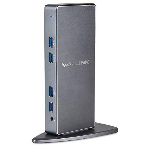 Wavlink Aluminum USB 3.0 Universal Laptop Docking Station Dual Monitor Display HDMI &Amp; DVI/VGA, Gigabit Ethernet, Audio, 6 USB 3.0 Ports For Windows, Chromebooks